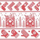 斯堪的纳维亚北欧与姜面包房子,长袜,手套,驯鹿,雪,雪花,树, Xmas的圣诞节无缝的样式 免版税库存照片