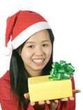Xmas-6. Beautiful girl in christmas clothes with a gift Royalty Free Stock Image