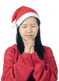 Xmas-7. Beautiful girl in christmas clothes praying for a present at Christmas Royalty Free Stock Photography