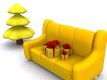 Xmas. Present boxes on sofa and pinetree. 3d Royalty Free Stock Photos
