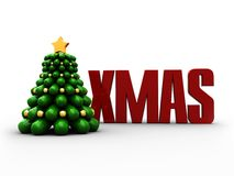 Xmas. 3d illustration of christmas tree with red text 'xmas vector illustration