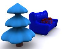 Xmas. Present boxes on sofa and pinetree. 3d Stock Photos