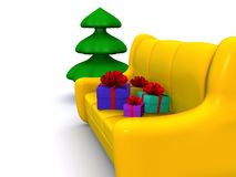 Xmas. Present boxes on sofa and pinetree. 3d Stock Images