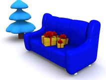 Xmas. Present boxes on sofa and pinetree. 3d Stock Photo