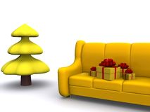 Xmas. Present boxes on sofa and pinetree. 3d Royalty Free Stock Photo
