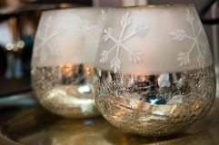Two shiny Christmas bowls as home decorations Royalty Free Stock Photos