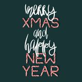 Xmas alegre e ano novo feliz - cartaz criativo Fotos de Stock