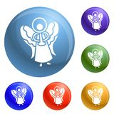 Xmas angel icons set vector vector illustration