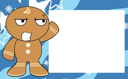 Xmas angry gingerbread kid cartoon expression frame background Stock Photography