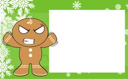 Xmas angry gingerbread kid cartoon expression frame background2 Stock Images