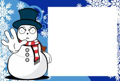 Xmas angry snow man cartoon expression picture frame background. Xmas funny snow man cartoon expression picture frame background in vector format Stock Image