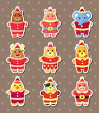 Xmas animal stickers Royalty Free Stock Image