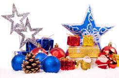 Xmas background. Red, blue and gold christmas decoration - isolated on white Stock Images