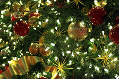 Xmas background. Xmas tree with toys and girland as background royalty free stock images