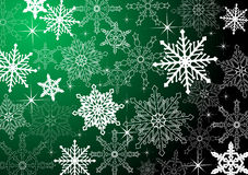 Xmas background. In green tone with snowflakes Stock Photography