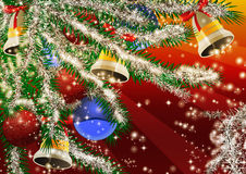 Xmas background. Big Christmas tree branch decoration on red background Stock Image