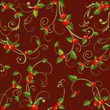 Xmas background. Christmas background with holly berries Stock Images