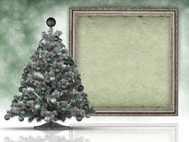 Xmas background - christmas tree and paper sheet Royalty Free Stock Photos