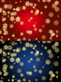 Xmas 2 Background with gold Snow Flakes Royalty Free Stock Photos