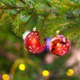 Red balls with snowflake on christmas tree indoor royalty free stock photos