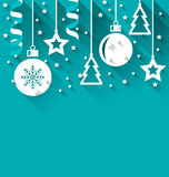 Xmas Background With Fir, Balls, Stars, Streamer, Trendy Flat St Royalty Free Stock Images