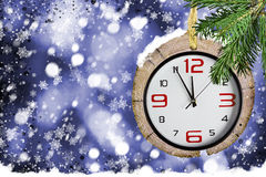 Xmas backgrounds with watches Royalty Free Stock Photography