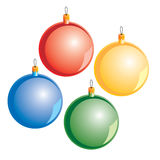 Xmas ball. Four color different vector xmas ball, vector illustration Stock Images