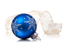 Xmas ball. And ribbonl on a white background Stock Images