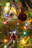 Xmas Ball. Detail of a Xmas tree decoration (red ball), with lights and branches in the blurred background royalty free stock images