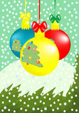 Xmas ball_5. Vector illustration of Christmas composition: three balls with fir-trees, branch, snowfall,  snowdrift Stock Photo
