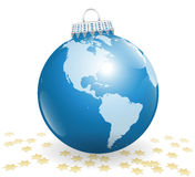 Xmas Ball America Planet Earth Stars Royalty Free Stock Images