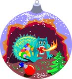 Xmas ball with cave of dragon Royalty Free Stock Image