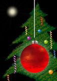 Xmas Ball and Fir Stock Image