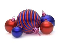 Xmas ball, New Year decor, Christmas balls decoration red blue royalty free illustration