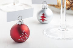 Xmas ball shaped card holders Stock Photography