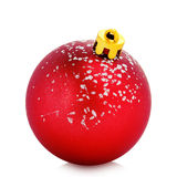 Xmas ball. Single red xmas ball isolated on white Royalty Free Stock Photography