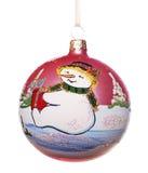 Xmas ball with snowman Stock Photos