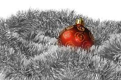 Xmas ball and tinsel. Over white Stock Photo