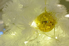 Xmas ball and white led Royalty Free Stock Image