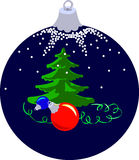 Xmas Ball With Firtree Stock Photography