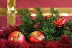 Xmas balls 12. Xmas balls on a red underground Royalty Free Stock Image