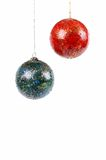 Xmas balls. Well used Green/blue and red xmas balls Stock Photography