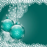 Xmas balls blue. Christmas scene with hanging ornamental blue xmas balls, snowflakes and stars. Copy space for text Stock Images