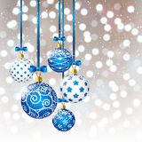 Xmas balls on bokeh background. Christmas blue balls on bokeh background Royalty Free Stock Photo