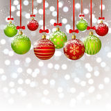 Xmas balls on bokeh background. Xmas red and green balls on bokeh background Royalty Free Stock Photography