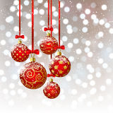 Xmas balls on bokeh background Stock Images