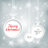 Xmas balls on Cristmas background. Abstract Christmas background with balls cut from paper Royalty Free Stock Image