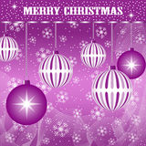 Xmas balls decoration purple. Christmas scene with hanging ornamental purple plain and striped xmas balls, snowflakes and snow stock illustration