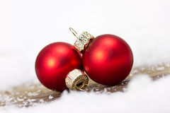 Xmas balls. Decoration with red xmas balls Royalty Free Stock Photo