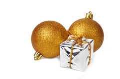 Xmas balls and gift box Royalty Free Stock Photo